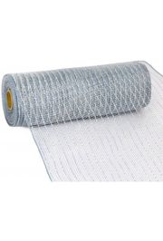 10in Wide x 30ft Long Poly Mesh Roll: Metallic Platinum Silver