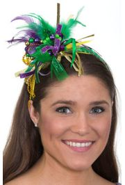 Mardi Gras Beaded Feather Headband