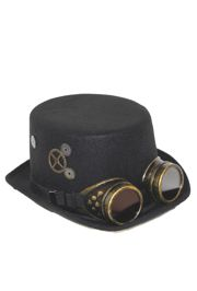 Male Deluxe Felt Steampunk Top Hat w/ Googles
