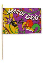 12in x 18in Mardi Gras Party Flag w/ Stick