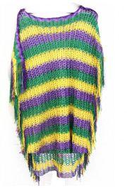 Mardi Gras Chevron Loose Knit Poncho