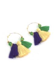 Mardi Gras Tassel Crystal Gold Hoop Earrings