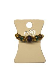 Gold Mardi Gras Crystal Beads Stretch Ring