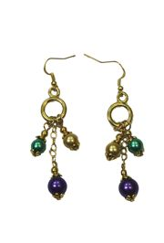 Mardi Gras Pearl Look Earrings