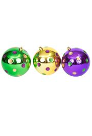 100mm Mardi Gras Ornaments with Dots/ Balls