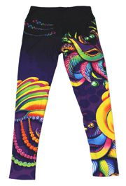 Mardi Gras Carnival Leggings w/ Feather Mask Design - KIDS Size
