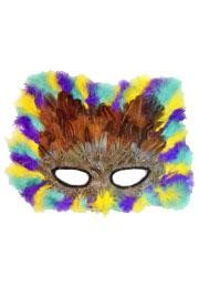 12in x 8.5in Molded Cat Feather Mask With Brown Feather