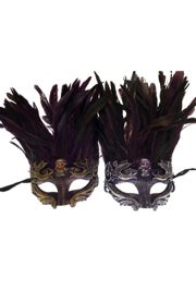 Venetian Purple Feathers Men Mask with Scull Design in Gold and Silver