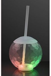 Light-up/ Flashing Disco Ball Plastic Drinking Cup with Straw