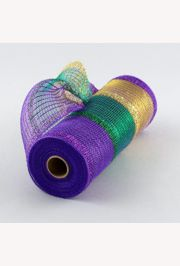 10in x 30ft Mardi Gras Tinsel Stripe Deco Mesh