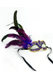 6.5in Wide x 3in Tall Mardi Gras Venetian Masks with Feathers and Glitter Accents