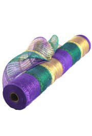 21in x 30ft Mardi Gras Stripe Deco Tinsel Mesh