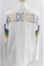Mardi Gras Long Sleeve White Spirit T-Shirts Size Large
