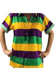 Mardi Gras Hawaiian Style Shirt Size Large