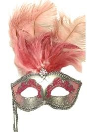 Silver Paper Mache Venetian Masquerade Mask on a Stick with Glitter Accents and with Light Pink Ostrich Feathers