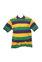 Mardi Gras Style T-Shirt W/Short Sleeve/Collar Large Size