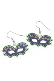 1in Wide x 2in Tall Mardi Gras Cat Eye Mask Earrings with Jewels