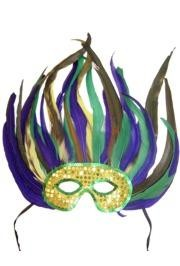 14in x 13in Purple/ Green/ Gold Feather Mask With Gold and Green Sequin
