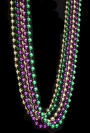 96in 7.5mm Round Metallic Purple/ Green/ Gold Beads