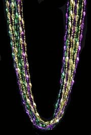 23mm 60in Metallic Purple, Green, and Gold Twist Mardi Gras Beads