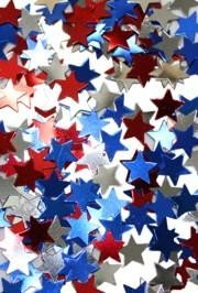1oz - 7/16in Red/ Silver/ Blue Star Confetti