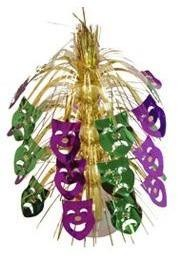 18in Metallic Purple Green Gold Comedy/ Tragedy Fountain Centerpiece