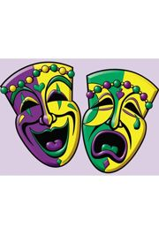 16in x 12in Purple/ Green/ Gold Comedy/ Tragedy Cutout