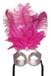 Hot Pink and Silver Paper Mache Venetian Masquerade Mask with Glitter Accents and with Hot Pink Large Ostrich Feathers