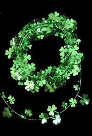 12ft Metallic Green St Patricks Shamrock/ Clover Wire Garland