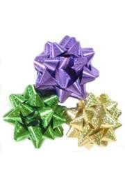 4in Purple/ Green/ Gold Laser Print Bows