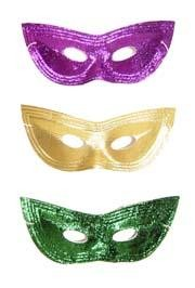 8in x 3.5in Assorted Metallic Purple/ Green/ Gold Lamei Cat Eye Mask