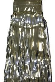 29in x 14ft Metallic Silver Fringe Table Skirt