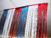 3ft Wide x 8ft Tall Red/ White/ Blue Metallic Door Curtain