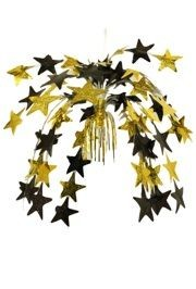 24in Black and Gold Metallic Star Cascade Centerpiece