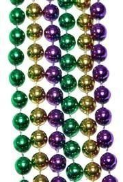 12mm 48in Purple, Green, Gold Beads