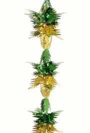 9ft x 8in Metallic Green/ Metallic Gold Pull Out Garland