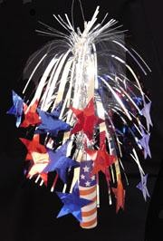 14in Metallic Red/ Silver/ Blue Firecracker Centerpiece