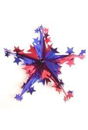 16in Metallic Patriotic Red/ Blue/ Silver Foil Star Decoration