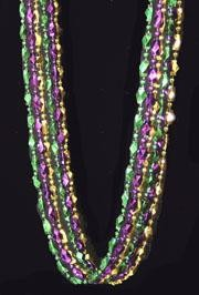 48in Metallic Purple/ Green/ Gold Diamond Cut Oblong Beads