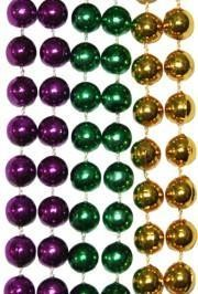 10mm 42in Purple, Green, Gold Mardi Gras Beads