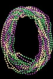 48in 8mm Round Section Metallic Purple/ Green/ Gold Beads