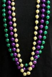 14mm 48-inch Purple, Green, Gold Beads