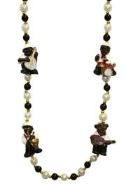 42in Jazz Band Necklace w/ Black White/ Pearl Beads