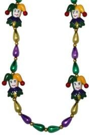 40in Purple/ Green/ Gold Tear Beads w/ 4 Purple /Green/ Gold Painted Jester