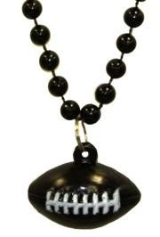 7mm 33in Black Beads with Football Medallion