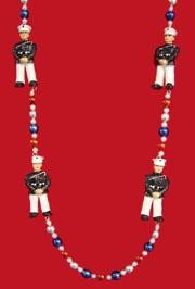 42in  Polyresin/ Ceramic United States Marine Necklace w/ Metallic Red/ Blue/ Silver Beads
