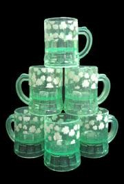 2in x 1.5in Green Shamrock/ Clover Beer Mugs Plastic Shot Glass