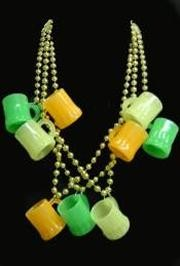 33in 10mm Gold Beads with 3 Glow in the dark Beer Mugs