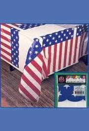 54in x 72in Red/ White/ Blue/ Plastic Star/ Stripe/ American Flag/ Tablecover