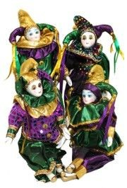 10in Tall x 4in Wide Purple/ Green/ Gold Metallic Jester Doll